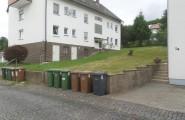 Pflasterarbeiten vor einem Wohnhaus