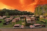 Panorama bei Sonnenuntergang auf dem Campingplatz Düderode in Kalefeld