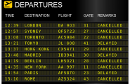 Abflugtafel zeigt verschobene und abgesagte Flüge an.