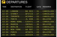 Verschobene und abgesagte Flüge, die auf einer Abflugtafel angezeigt werden.