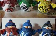 Keramik Fußballschneemänner