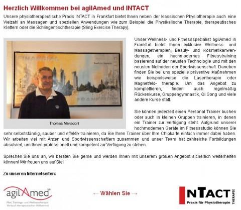 Die Gesundheitsspezialisten Intact in Frankfurt Von Physiotherapie bis Prävention der richtige Partner in Frankfurt