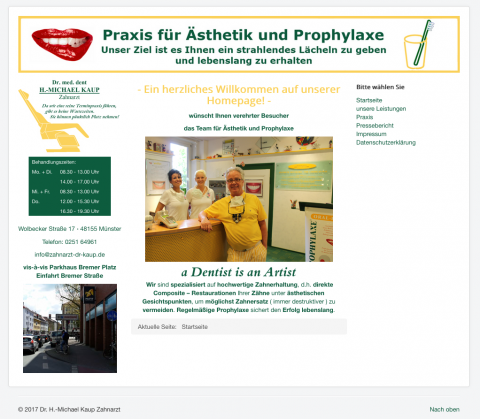 Bleaching in der Praxis für Ästhetik und Prophylaxe von Dr. med. dent. H.-Michael Kaup in Münster in Münster