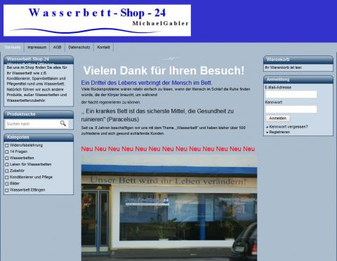 Onlineshop für Wasserbetten von Michael Gabler in Malsch