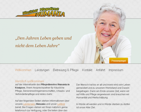 Häuslicher Pflegedienst Humania in Königsee-Rottenbach in Königsee-Rottenbach