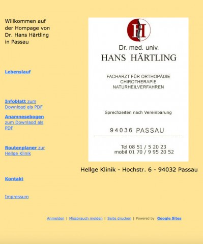 Kiss-Syndrom Passau: Dr.med. univ. Hans Härtling in Passau