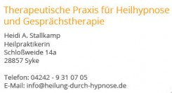 Therapeutische Praxis für Heilhypnose & Gesprächstherapie Heidi A. Stallkamp   Syke