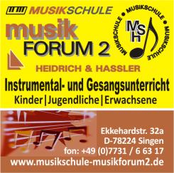 Mit Spaß musizieren: musikFORUM 2 Heidrich & Hassler Musikschule in Singen   Singen