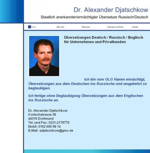 Firmenprofil von: Dr. Alexander Djatschkow – Übersetzer für Deutsch und Russisch in Essen-Horst