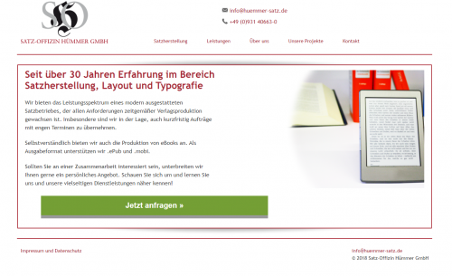 Firmenprofil von: Hochwertige Druck-Erzeugnisse und eBooks bei der Satz-Offizin Hümmer GmbH