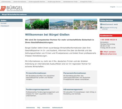 Firmenprofil von: Wirtschaftsinformationsdienst und Inkassobüro Bürgel in Reiskirchen