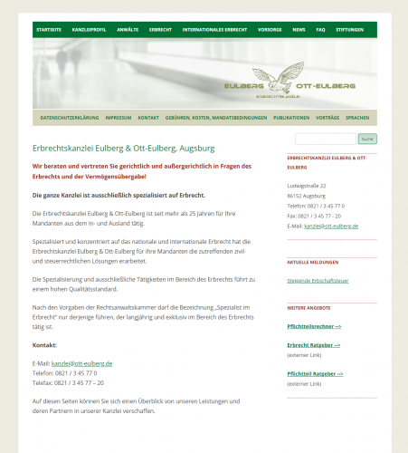 Firmenprofil von: Erbrechtskanzlei Eulberg und Ott-Eulberg: Erfahrene Fachanwälte für Erbrecht