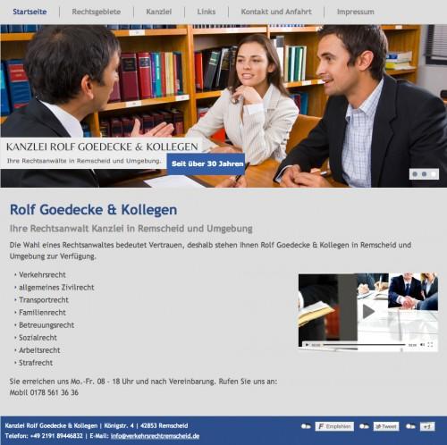 Firmenprofil von: Rechtsanwälte für Verkehrsrecht in Remscheid: Rolf Goedecke