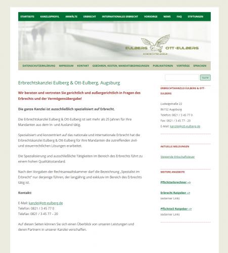 Firmenprofil von: Ihre internationale Erbrechtskanzlei - Eulberg und Ott-Eulberg in Augsburg