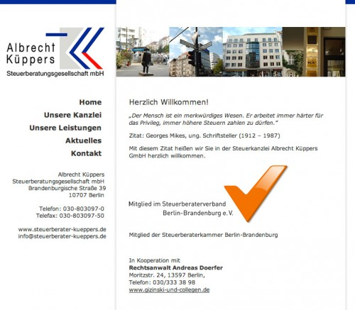 Firmenprofil von: Steuerberatung Albrecht Küppers in Berlin