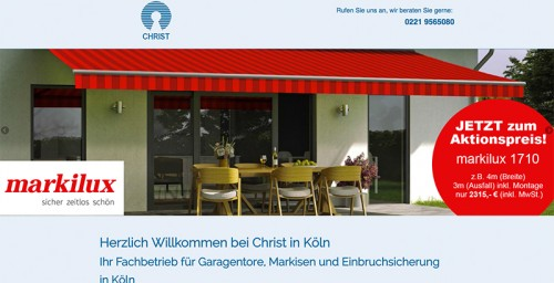 Firmenprofil von: Christ Handwerk in Köln – Fachbetrieb für Markisen und vielem mehr