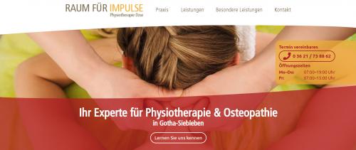 """Firmenprofil von: Die Praxis für Physiotherapie """"Raum für Impulse"""" in Gotha"""