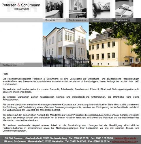 Firmenprofil von: Rechtsanwälte Petersen & Schürmann in Neubrandenburg