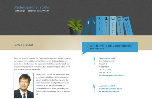 Firmenprofil von: Agrarrecht: Rechtsanwalt und Fachanwalt für Agrarrecht Bernd Wadenspanner