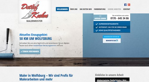 Firmenprofil von: Zuverlässiger Malerbetrieb in Wolfsburg: Malermeister Detlef Kuhn sorgt für farbige Aussichten