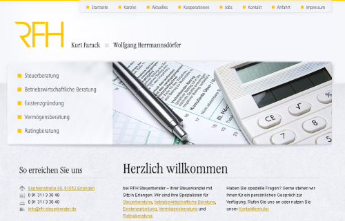 Firmenprofil von: RFH Steuerberatung Kurt Farack und Wolfgang Herrmannsdörfer GbR in Erlangen