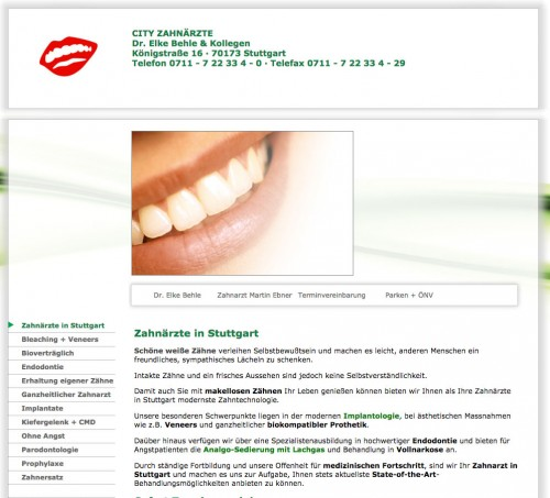 Firmenprofil von: Zahnmedizin in Stuttgart: City-Zahnärzte Dr. Elke Behle und Kollegen