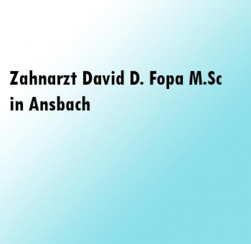 Firmenprofil von: Strahlende Zähne dank Zahnarzt David D. Fopa M.Sc aus Ansbach