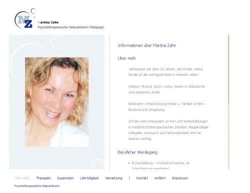 Firmenprofil von: Psychotherapeutische Heilpraktikerin Martina Zahn in Östringen