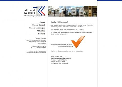 Firmenprofil von: Existenzgründungsberatung durch Steuerberater Albrecht Küppers in Berlin